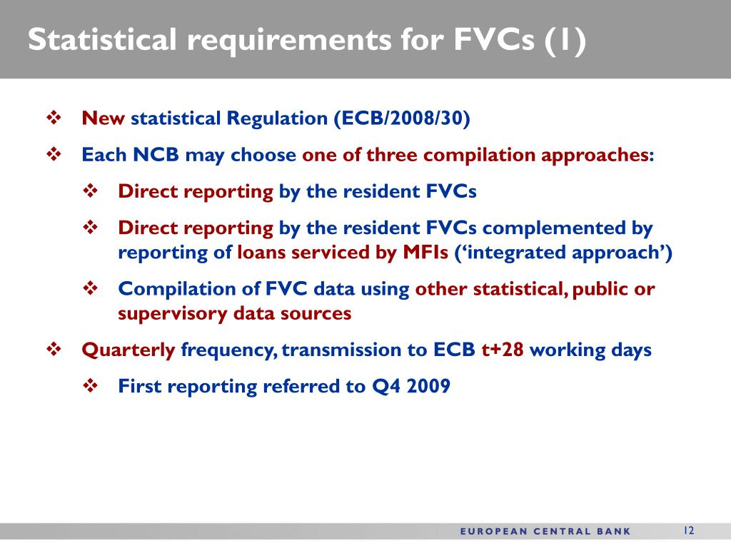 Statistical requirements for FVCs (1)
