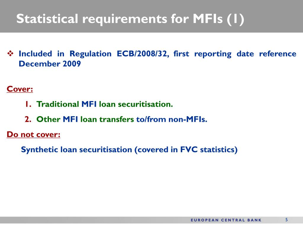Statistical requirements for MFIs (1)