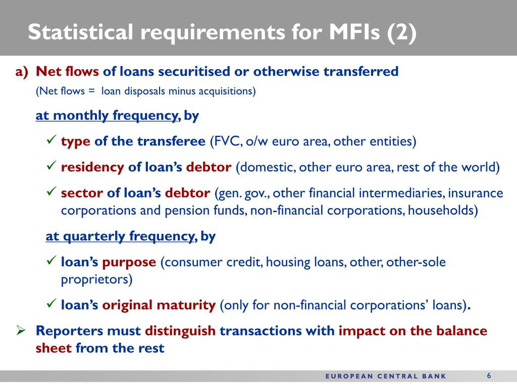 Statistical requirements for MFIs (2)