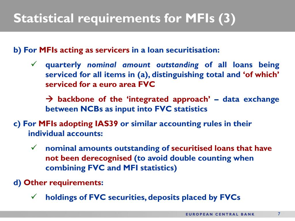 Statistical requirements for MFIs (3)