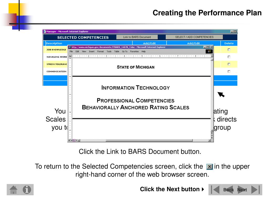 To return to the Selected Competencies screen, click the      in the upper right-hand corner of the web browser screen.