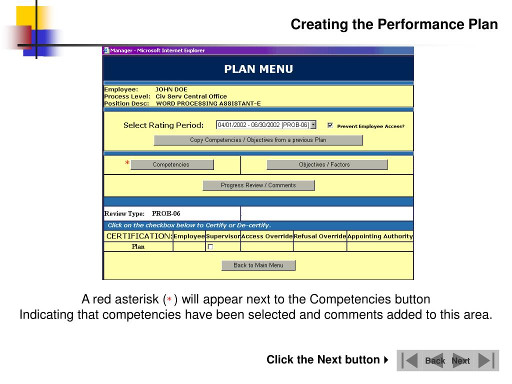 A red asterisk (  ) will appear next to the Competencies button