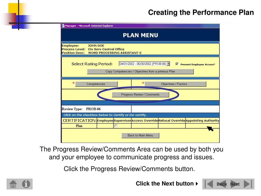 Creating the Performance Plan