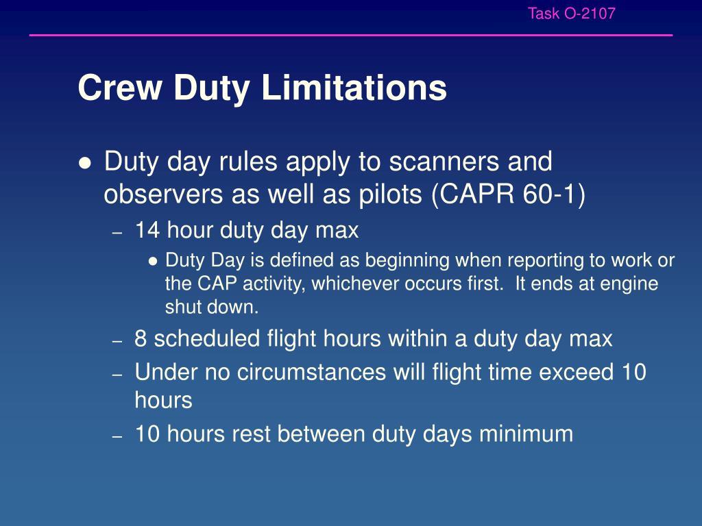 Crew Duty Limitations