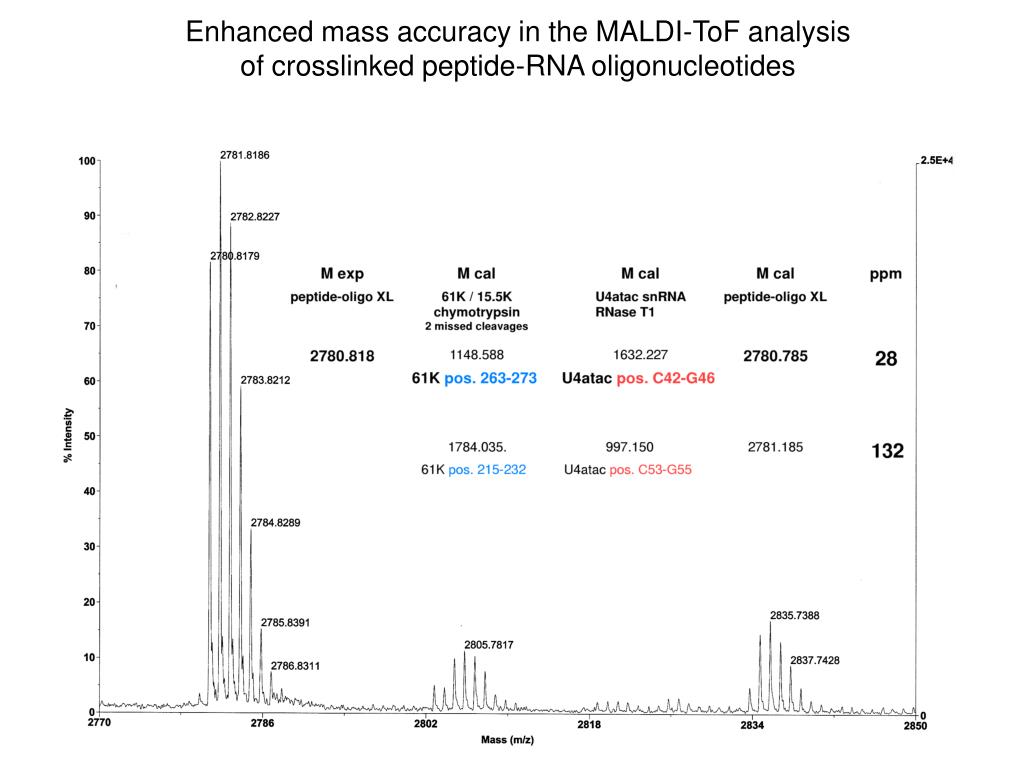 Enhanced mass accuracy in the MALDI-ToF analysis