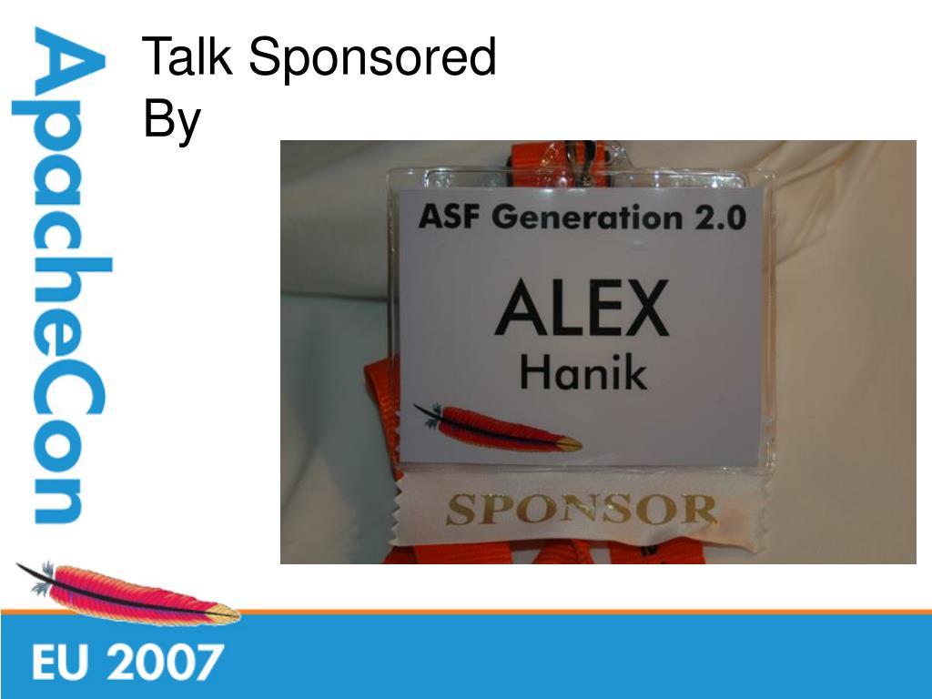 Talk Sponsored