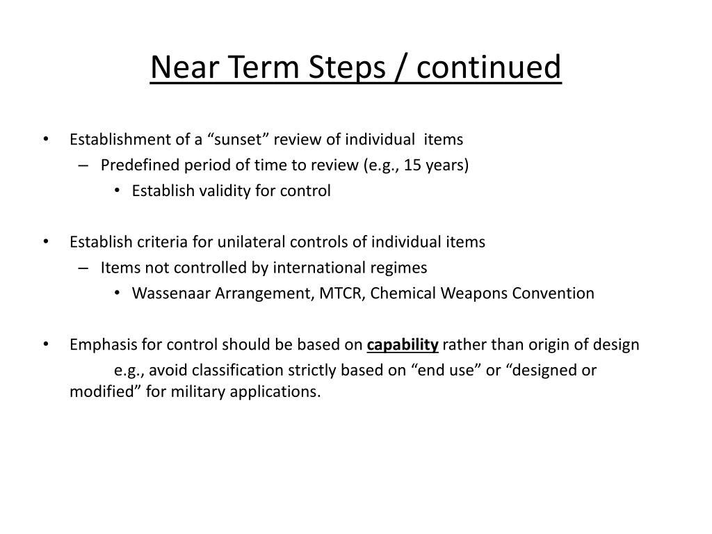 Near Term Steps / continued