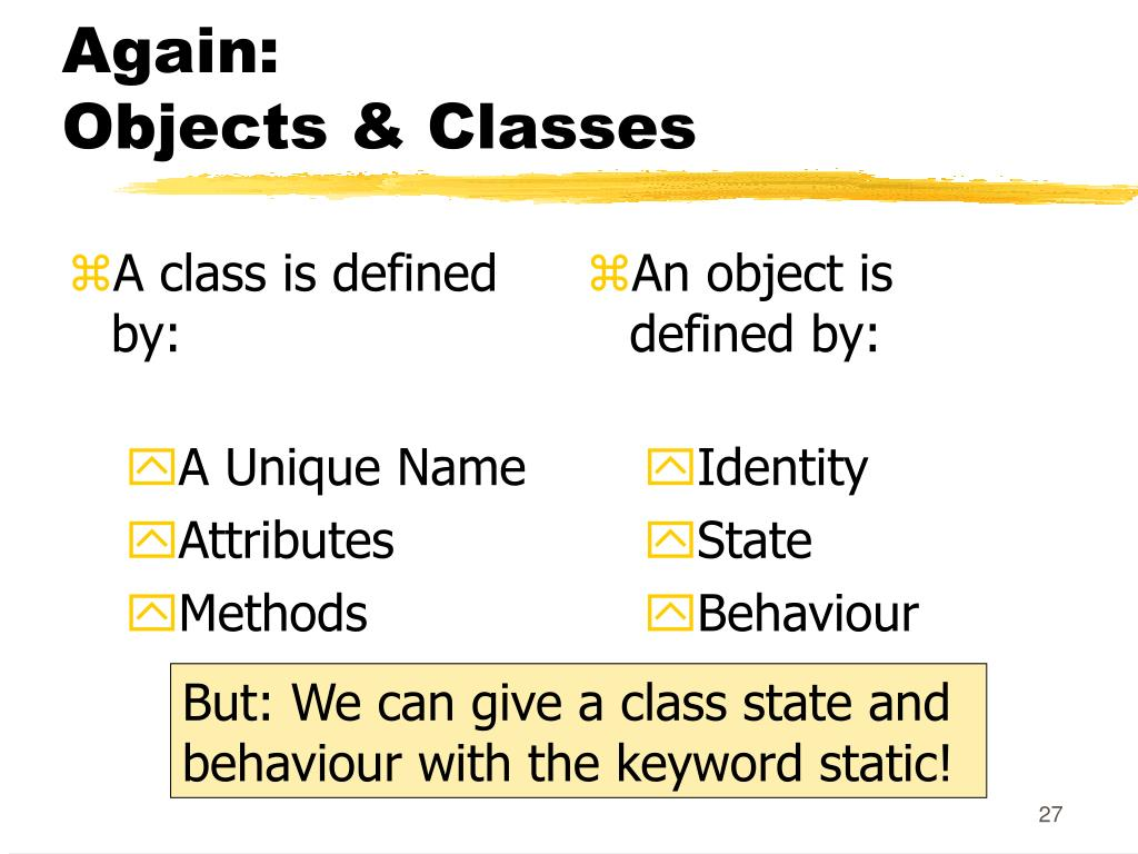 A class is defined by: