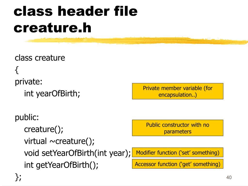 class header file creature.h
