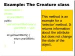 example the creature class14