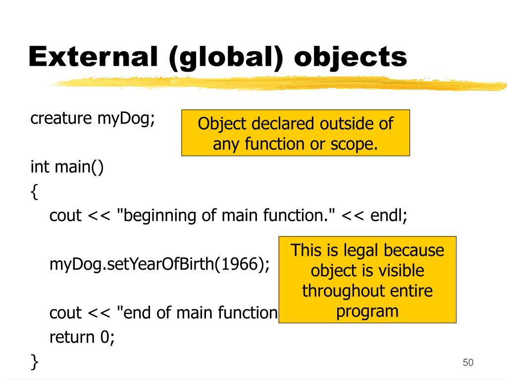 External (global) objects