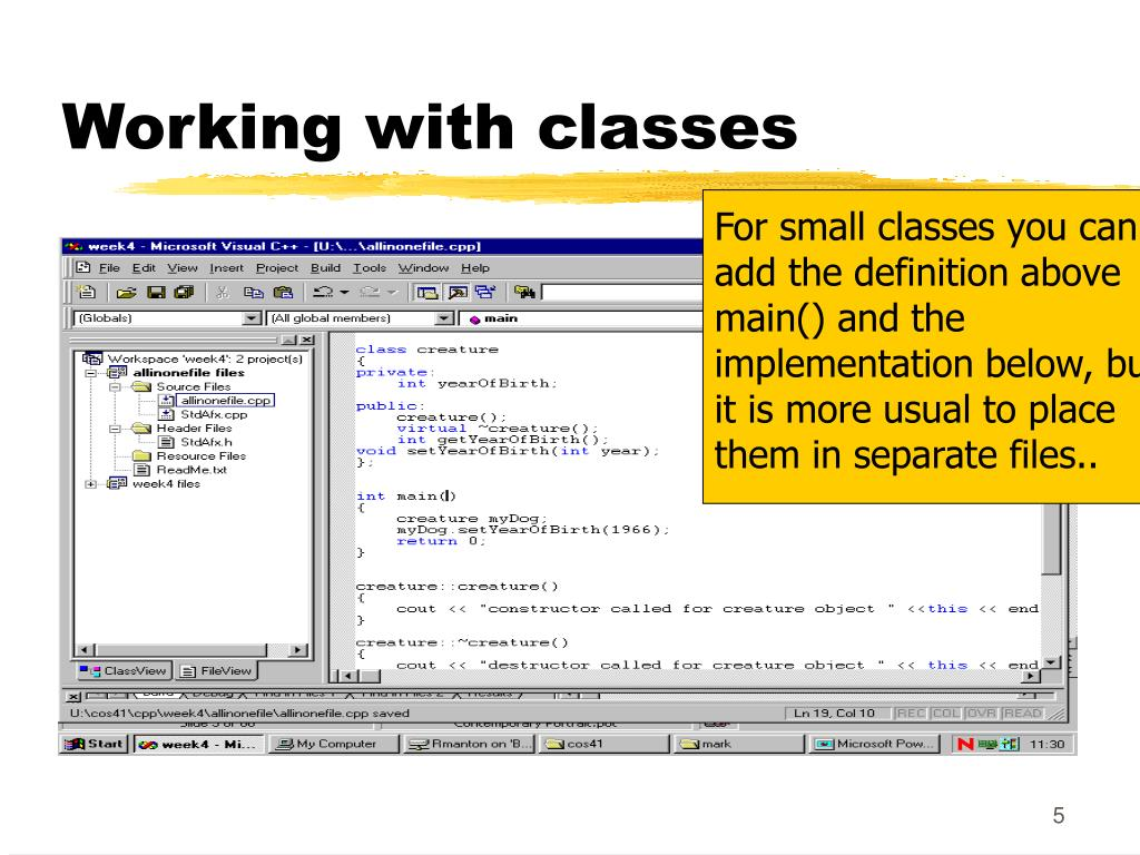 Working with classes