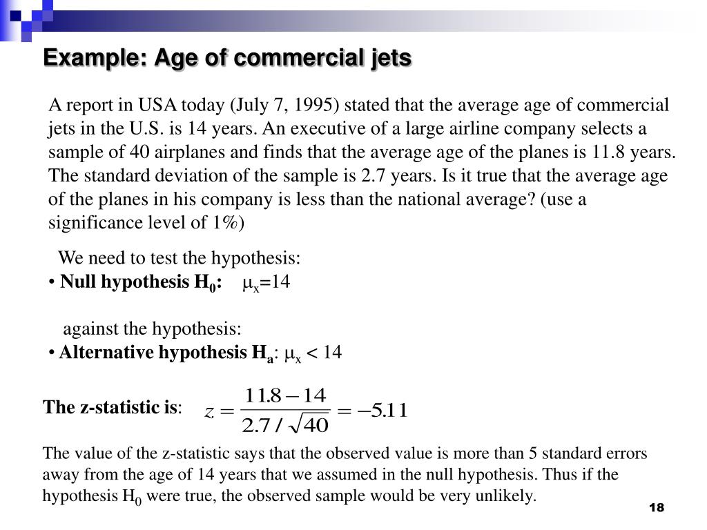 Example: Age of commercial jets