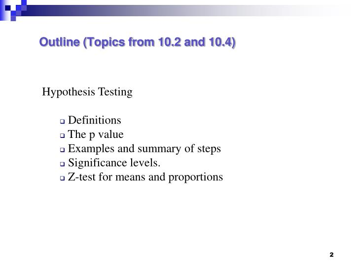 Outline topics from 10 2 and 10 4