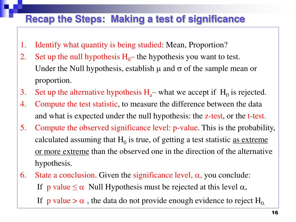 Recap the Steps:  Making a test of significance