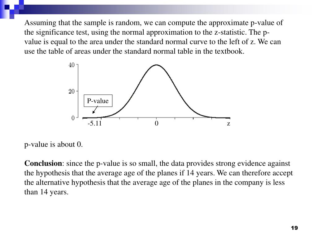 Assuming that the sample is random, we can compute the approximate p-value of the significance test, using the normal approximation to the z-statistic. The p-value is equal to the area under the standard normal curve to the left of z. We can use the table of areas under the standard normal table in the textbook.