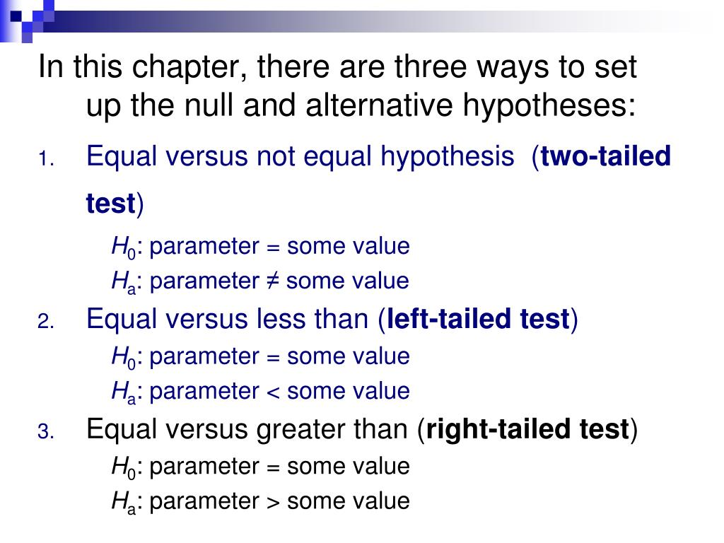 In this chapter, there are three ways to set up the null and alternative hypotheses: