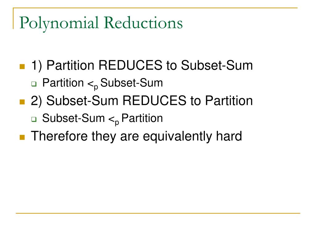 Polynomial Reductions