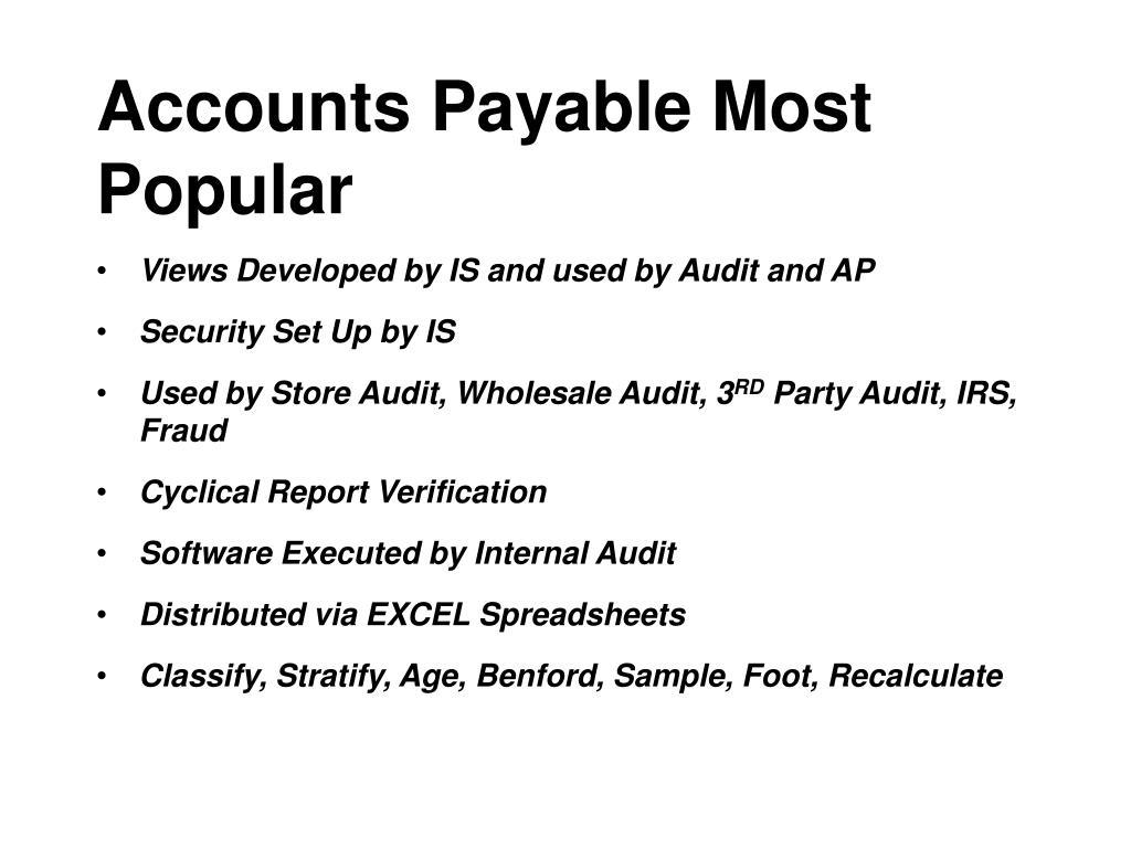 Accounts Payable Most Popular