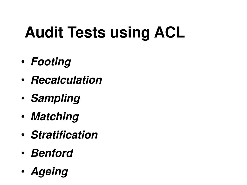 Audit Tests using ACL