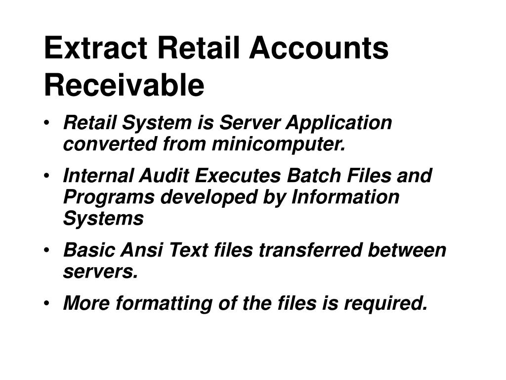 Extract Retail Accounts Receivable