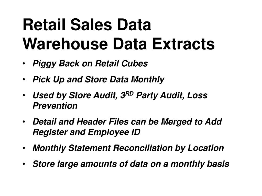 Retail Sales Data Warehouse Data Extracts