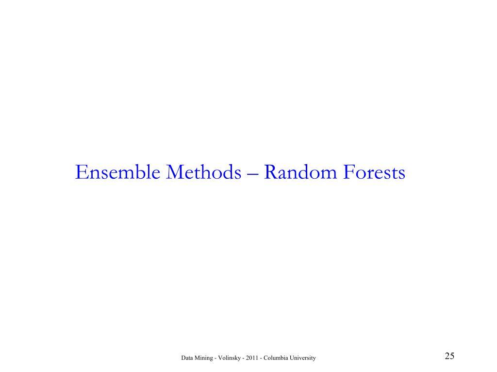 Ensemble Methods – Random Forests