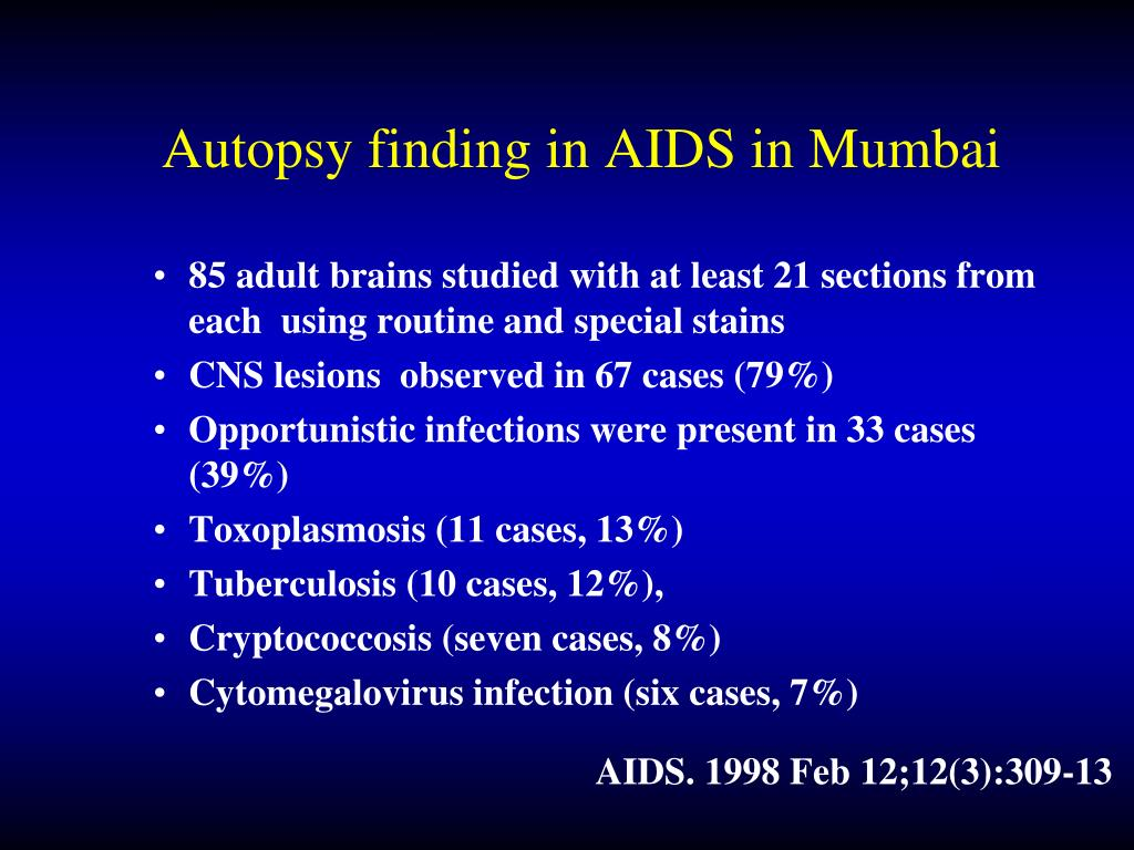 Autopsy finding in AIDS in Mumbai