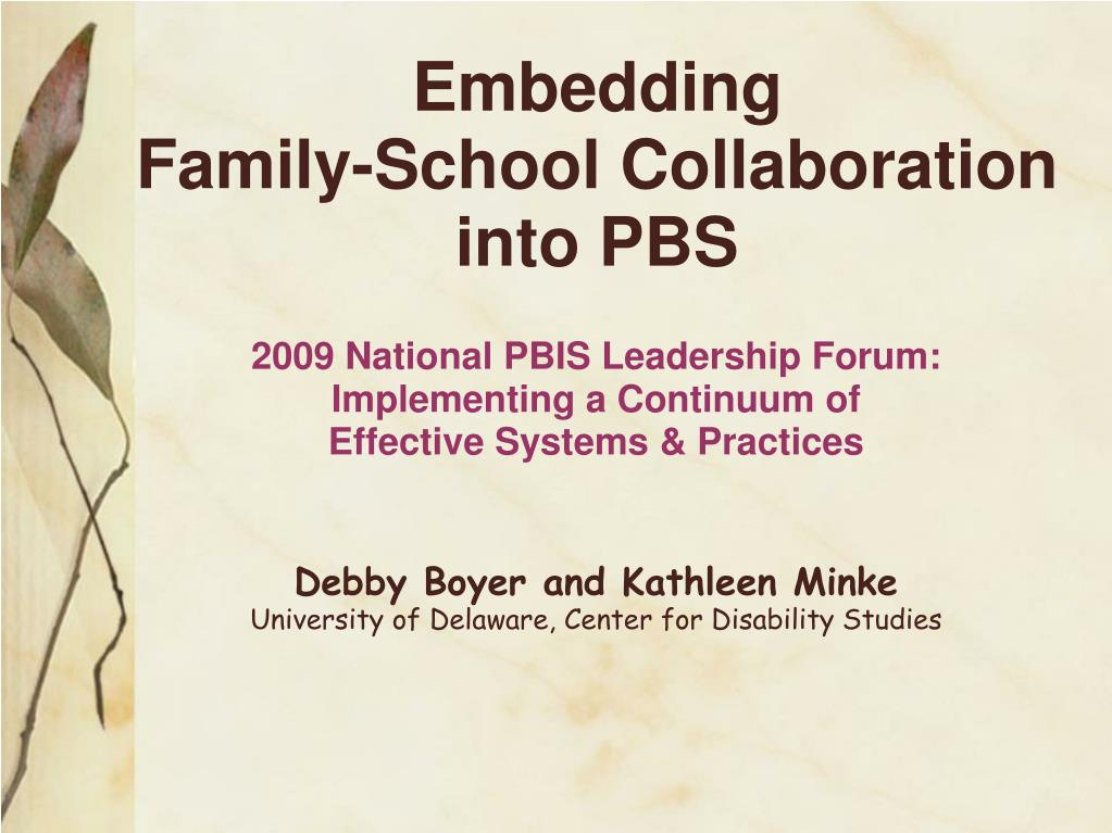 embedding family school collaboration into pbs