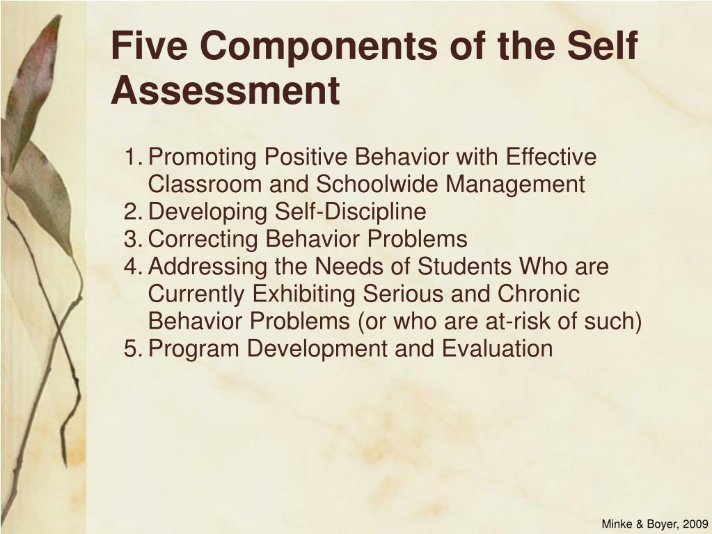 Five Components of the Self Assessment