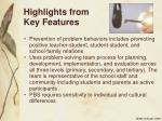 highlights from key features