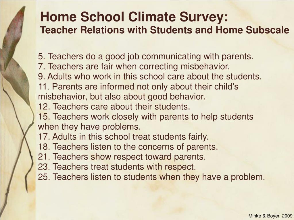 Home School Climate Survey: