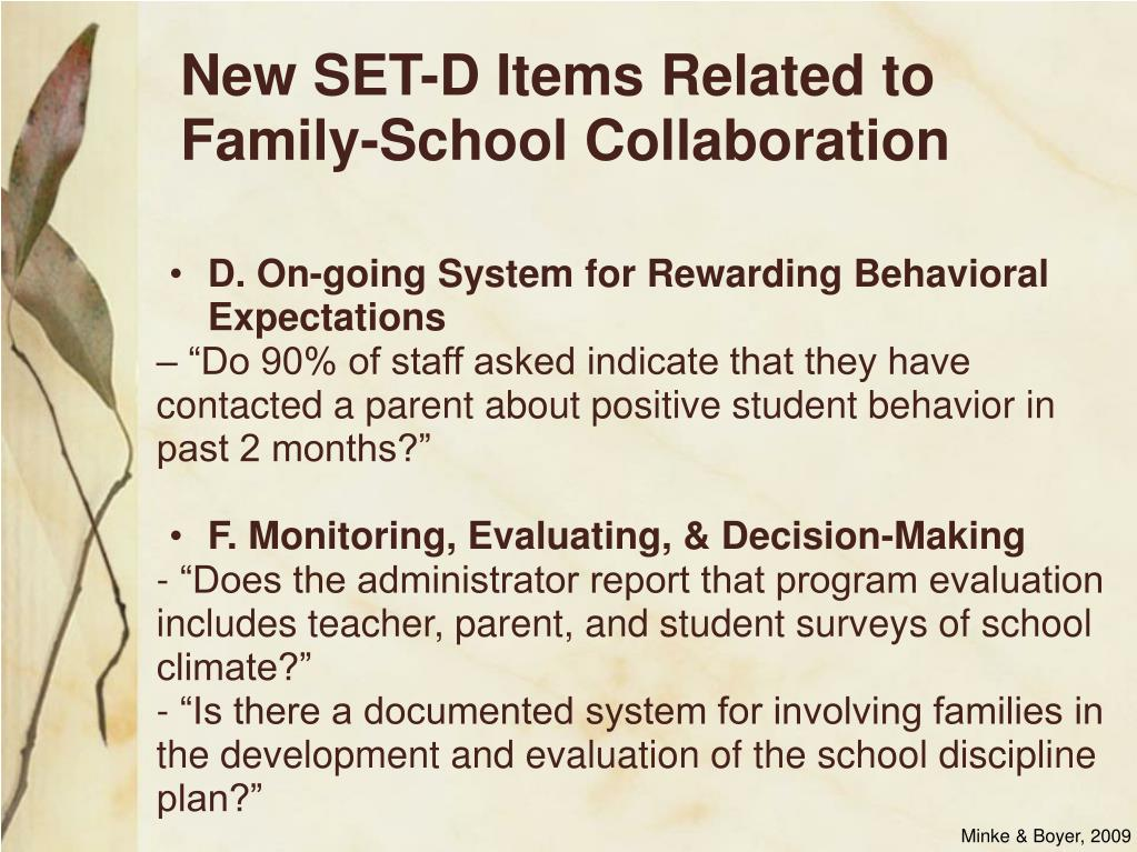 New SET-D Items Related to Family-School Collaboration