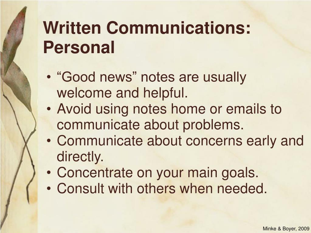Written Communications: