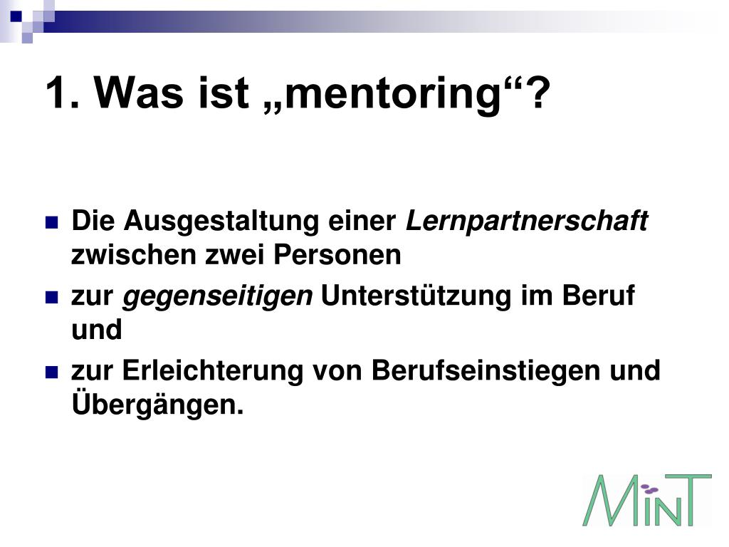 "1. Was ist ""mentoring""?"