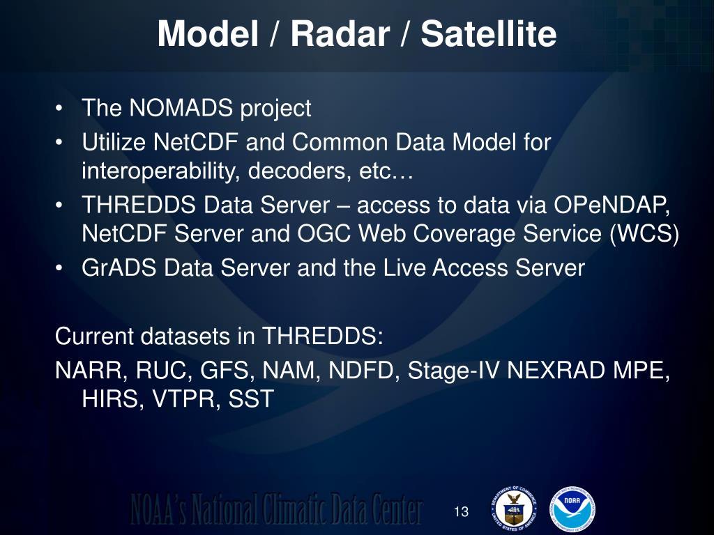 Model / Radar / Satellite