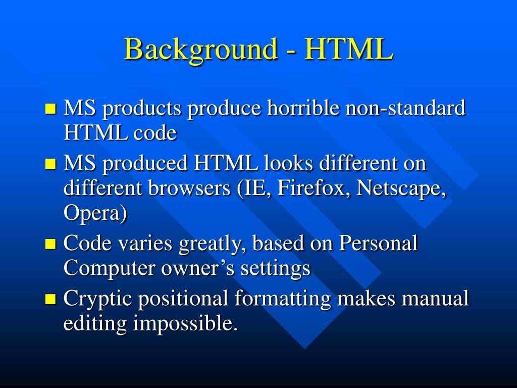 Background - HTML