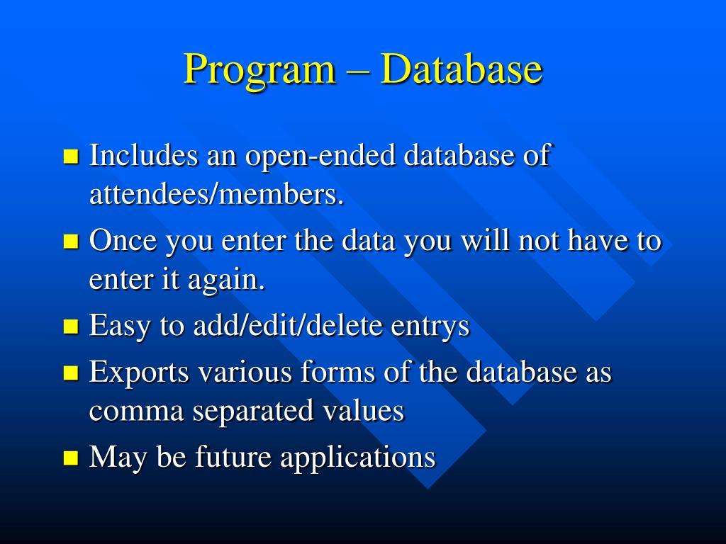 Program – Database