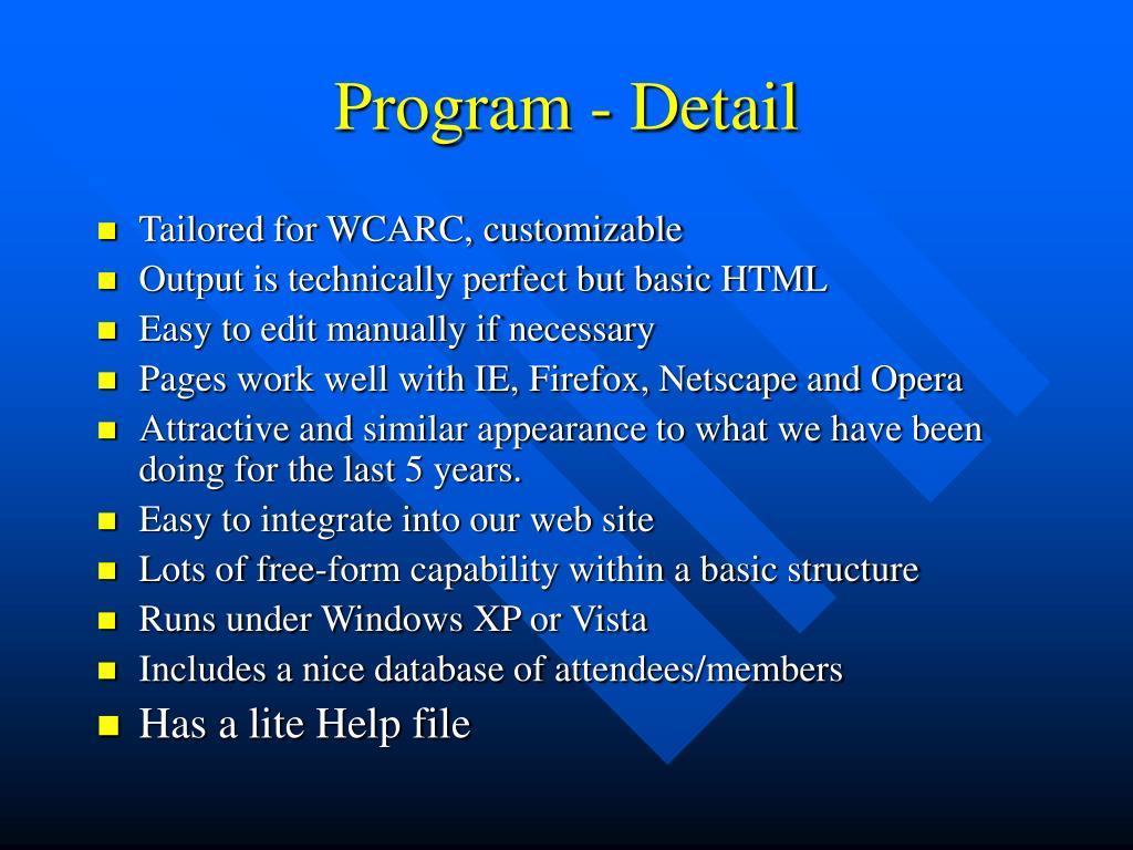 Program - Detail