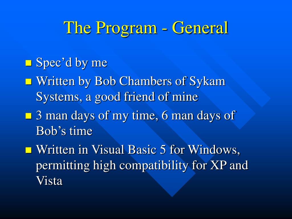 The Program - General