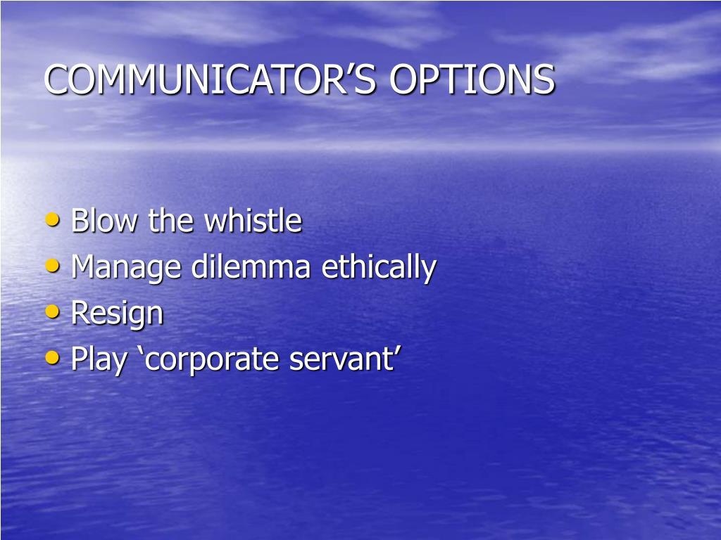 COMMUNICATOR'S OPTIONS