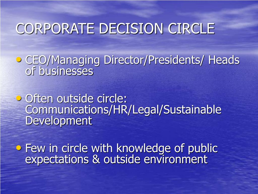CORPORATE DECISION CIRCLE