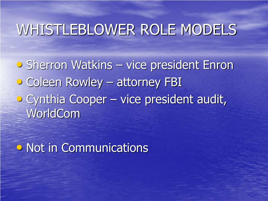 WHISTLEBLOWER ROLE MODELS