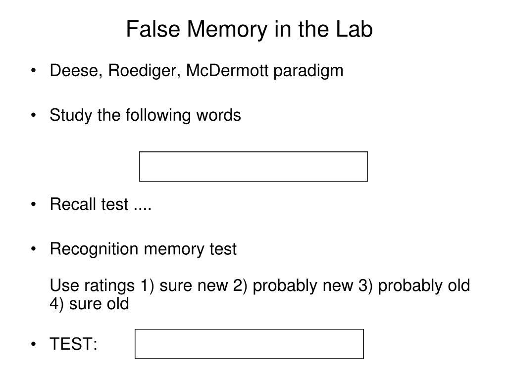 False Memory in the Lab
