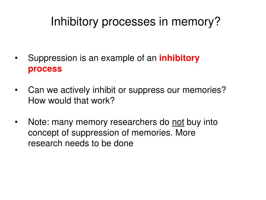 Inhibitory processes in memory?