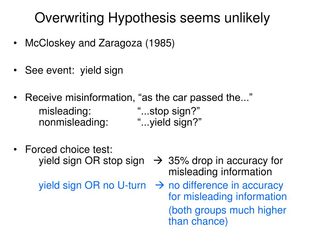 Overwriting Hypothesis seems unlikely