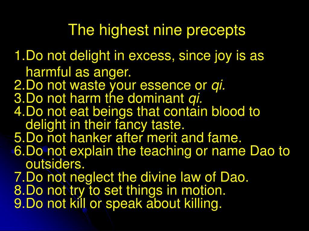 The highest nine precepts