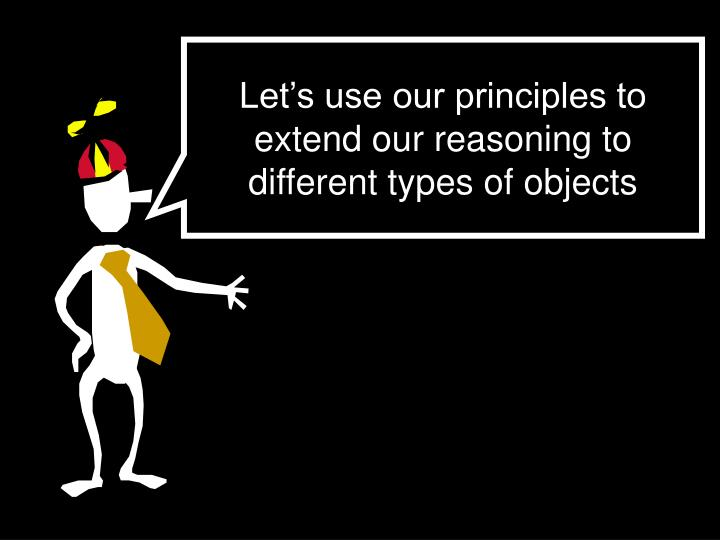 Let's use our principles to extend our reasoning to different types of objects