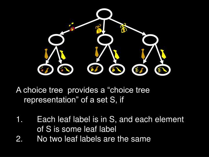 "A choice tree  provides a ""choice tree representation"" of a set S, if"