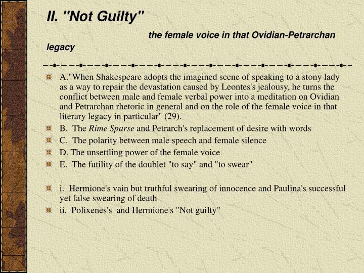 """II. """"Not Guilty"""""""